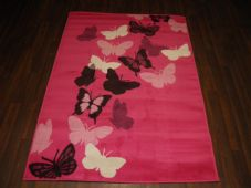 Modern Rugs Approx 6x4ft 120x170cm Woven Backed Pink Butterflys Quality rugs New